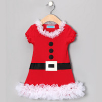 Wholesale New summer girls children Christmas Dress baby santa Dress Short sleeve dress with white lace Xams baby Clothing C029