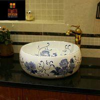 Wholesale Handmade Modern Brief Blue and White Artistic Washbasin Bowl sink Bathroom sink