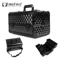 Cheap Classic Black professional Large multi-layer makeup case,Fashion Comestic Tool storage box