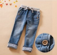 Wholesale Fashion Big Girls Long Jeans Pants Autumn Children Kids Cloth Cotton Washed Denim Thicken Pencil Tights Trousers Culottes Indigo Girl K1720
