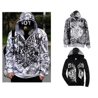Wholesale New Men Hip Hop Graffiti Printing Zipper Hoodie Sweater Sweatshirt