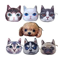 Wholesale Lovely Cat Dog Head Coin Purse D Character Animal Meow Star People Zipper Purses Womens Girls Midi Handbag Case Chirstmas Gifts DCBF03
