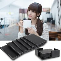 leather coaster - DIU Double deck Leather Coasters Set Placemat of Cup with Coaster Holder