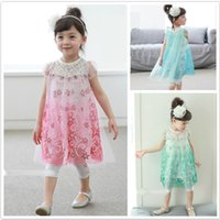 Wholesale Latest Style Frozen Style Girl s Sweet Lace Dress Baby Children Princess Dresses Pink Blue Green Colors