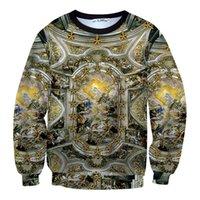 al por mayor puente de oro-Golden 2016 moda 3d hoodies espacio algodón camiseta de invierno de manga larga trajes de invierno corriendo jogging Jumper