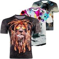 Wholesale WishCart Summer D Shirt Men Women men t Fashion Animal Thinker Print Male Sleeve Tops Tees Plus Size mens tshirt tshirts brands