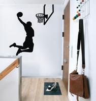 basketball player cartoon - ColorfulHall Sports Air Basketball man player Wall stickers art Decoration USA spirit wall decals