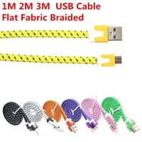 galaxy s3 phone - Flat Fabric Braided USB Charger Cable Data Sync Nylon Cables For Samsung Galaxy S4 S3 S5 Note HTC Blackberry LG Lenovo Phone