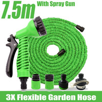 Wholesale 7 m Flexible Garden Water Hose Magic Spray Gun Wash Pipe Rubber Retractable Reals Watering Expandable Hoses Mangueira Jardim