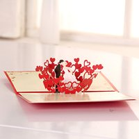Wholesale Creative Red Flowers Wedding Invitation Card Bride Wedding Supplies And Favors Custom print invitations
