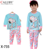 Wholesale Spring Girl Pajamas Dog Blue Cartoon Cotton Long Sleeve Underwear Y X735