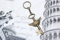 Cheap 10pcs   lot DIY jewelry accessories retro bronze wings clock big key Key Ring