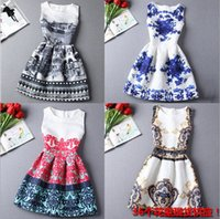 european fashion dress - 26 Style Choice Girls Best Sale Summer Dresses New Fashion European American Style Floral digital Printing Vest Dress Lady Dresses