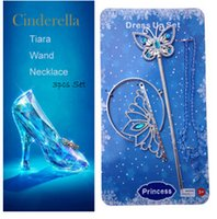 magic set - 2015 newest girl Cinderella crown Set Crown and Butterfly Magic wand and necklace cosplay Party Cinderella set crown LJJC801 sets