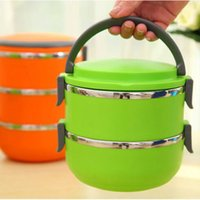Cheap 1Pcs Two Layer Stainless Steel Student Lunch Box 1400ML Food Container Cute Hand Pot Japanese Plastic Bento Lunch Boxes For Kids