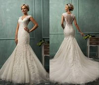 Cheap 2014 Amelia Sposa V Neck Cap Sleeve Lace Tulle Mermaid Wedding Gowns Appliqued Fit Flare Sheer Backless Plus Size Bridal Party Dresses SSJ