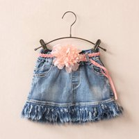 Summer jean skirts - 2016 NEW baby girl kids Denim tutu skirt Denim lace skirt jean fringes tassels Pleat D rose flower belt waistband Summer clothing clothes