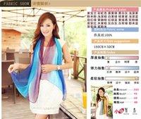 Wholesale Women Scarves Gray Begonia Flower Ink Style Long silk Girl Neck Scarf fashion Shawl