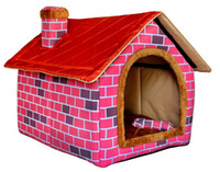 big dog houses - Warm in winter big dog s house Indoor Dog Cat Soft Plush Pincord Canvas House Kennel Crate Pet Tent Bed