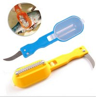 Wholesale fish scale scraper fish cleaning skin brush with base cover knife cooking Seafood tool multifunctional kitchen necessary C