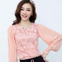 Cheap White pink lace blouse blusa de renda embroidery summer top ruffled blouse long sleeve shirt blusa chiffon women clothing WD364