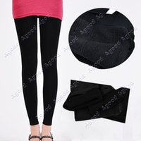women winter tights - Winter Women Bamboo Carbon Fiber Double Thermal Warm Black Tights Footless Pants Leggings