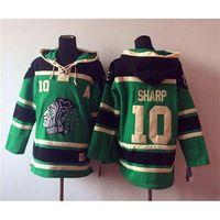Wholesale Blackhawks Patrick Sharp Green Hockey Hoodies New Arrival Mens Sportswear Comfortable Pullover Hooded Sweatshirts Cheap Hockey Jackets