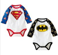 bodysuit - 2015 New Style Sping Autumn Newborn Baby Child Toddler Girl Boy Infant Long Sleeve Blue Superhero Superman Batman Bodysuit Romper S0140277