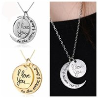 ali heart - DHL I love you to the moon and back Necklace Round Alex Ali Pendant Moon Necklace Christmas Gift Chain Sun and Moon Necklace