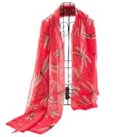 Wholesale Scarf female spring pink red scarf with dragonfly printed shawls scarfs NL