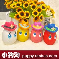 Wholesale Amoy Egg Legion puppy dog toy pet natural latex angel eggs cowboy frog eggs egg Teddy sound