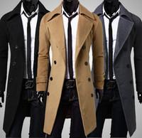 Wholesale New Winter mens long pea coat Men s wool Coat Turn down Collar Double Breasted men trench coat