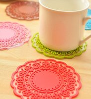 Wholesale In Stock Creative Laser Coffee silicone mats placemats for tables Round Mats Pads Coasters Sets Rubber Tea Bowl