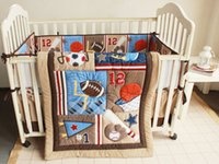 baby basketball set - 7 Pieces D embroidery Basketball football pattern cotton baby bedding set item includes Quilt bed Bumper Skirt Mattress Cover