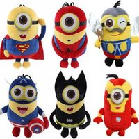 Wholesale 2015 Different Styles Minions Toys Captain America Superman Spider Man Batman Thor Iron CM Plush Toy Despicable Me Doll Minions Plush Toys