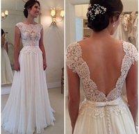 Wholesale Fashion Beach Wedding Dress Chiffon Lace Cap Sleeves Bow Sash Sweep Train A Line Sheer Neck Backless Bridal Gown Dress Cheap