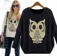 Wholesale Fashion Soft Casual Cartoon Owl Animal Batwing Sleeved Women Ladies Loose Knit Coat Tops Sweater Drop Shipping