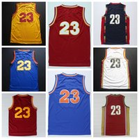 Wholesale Basketball Jerseys Cleveland James Retro Wears Clothing Discount Cheap Hot Sell Blue Red Yellow White Vintage Embroidered Sale