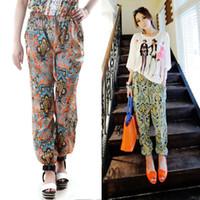 Wholesale Women Bohemia national trend bloomers harem pants casual pants wide leg pants female beach pants