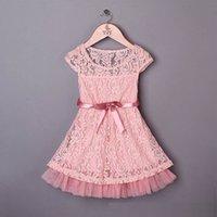 jumper dress - baby girl kids lace dress flower tutu dress floral tutu dress crochet dress hollow dress princess pink jumper tulle ribbon belt waistband