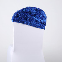 Wholesale Royal Blue D Rose Flower Wedding Chair Covers Bridal Chair Sash Table Cloths Factory Chair Covers For Sale Chair Covers Wedding Asymmetry