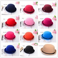 Woman beach sf - Winter Fashion Vintage Women Men Belt turned edge Dome Hat Unisex Billycock Classic Headwear Woolen Roll Brim Bowler Hats Caps SF CA028