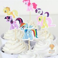 baby shower cake topper - 24pcs my little pony cake toppers cupcake picks cases for kids birthday favors party supplies festa baby shower AW