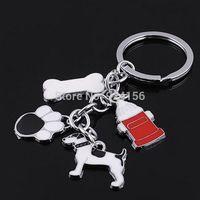 pet milk bottle - 10pcs Beautifully pet keychain fashion key chain trinkets with dog bone footmark milk bottle