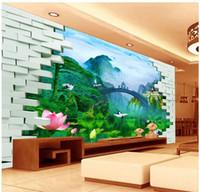 Купить Кирпич краска-Papel де Parede кирпича пейзаж картины 3d видеостена размер нетканые обои стикер стены costomize 8920245