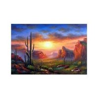 arizona desert cactus - Arizona Sunset Desert Saguaro Barrel Cactus Valley X36 Frameless draw Oil Painting