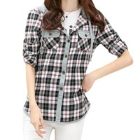 al por mayor mujeres camiseta de la tela escocesa-S5Q Mujeres clásico de manga larga de señora Cheques Casual Sudaderas Camisas a cuadros blusa superior AAAEXD