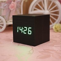 Wholesale 2014 New Black Wood Square Green LED Alarm Digital Desk Clock Wooden Thermometer USB AAA
