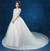 b v bag - 2016 New Lace Short sleeve Dew Shoulder Bag Embroidered Beads Back Large Tail Wedding Dress Simple Diamond Deep V B