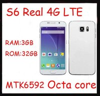 Wholesale FREE DHL Real G lte inch Goophone S6 Octa core MTK6592 Android cell phone GB RAM GB ROM Smart Phone